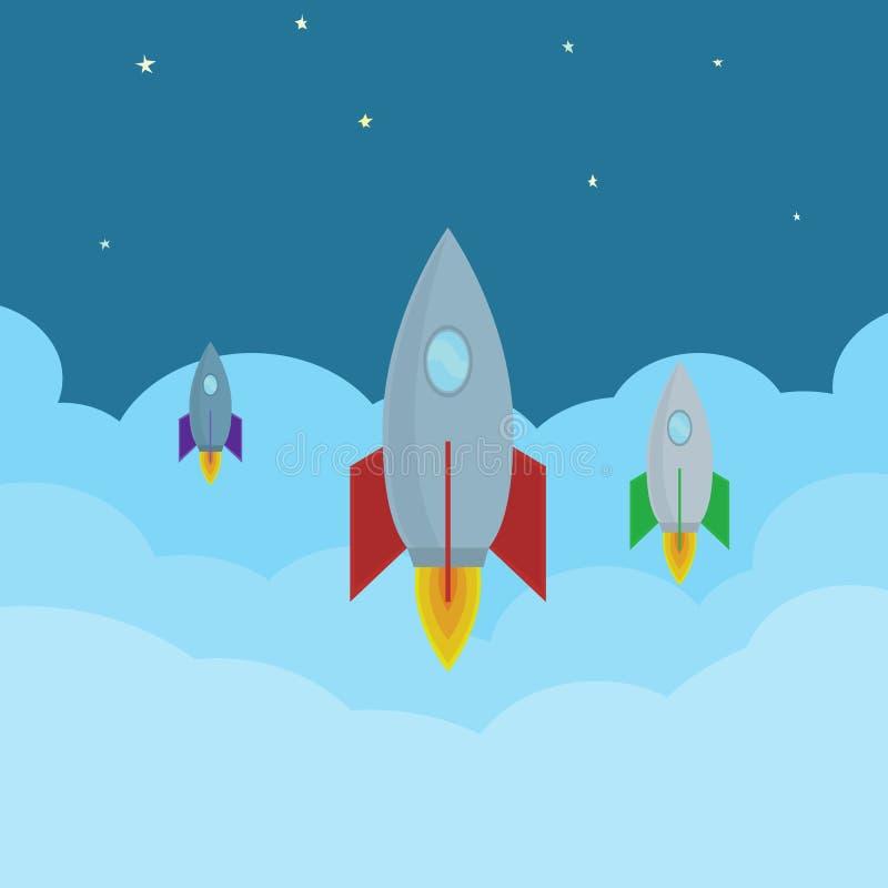 Vector шарж Ракеты летая в облака в космос Абстрактное изображение начинает вверх проект с космическими кораблями иллюстрация штока