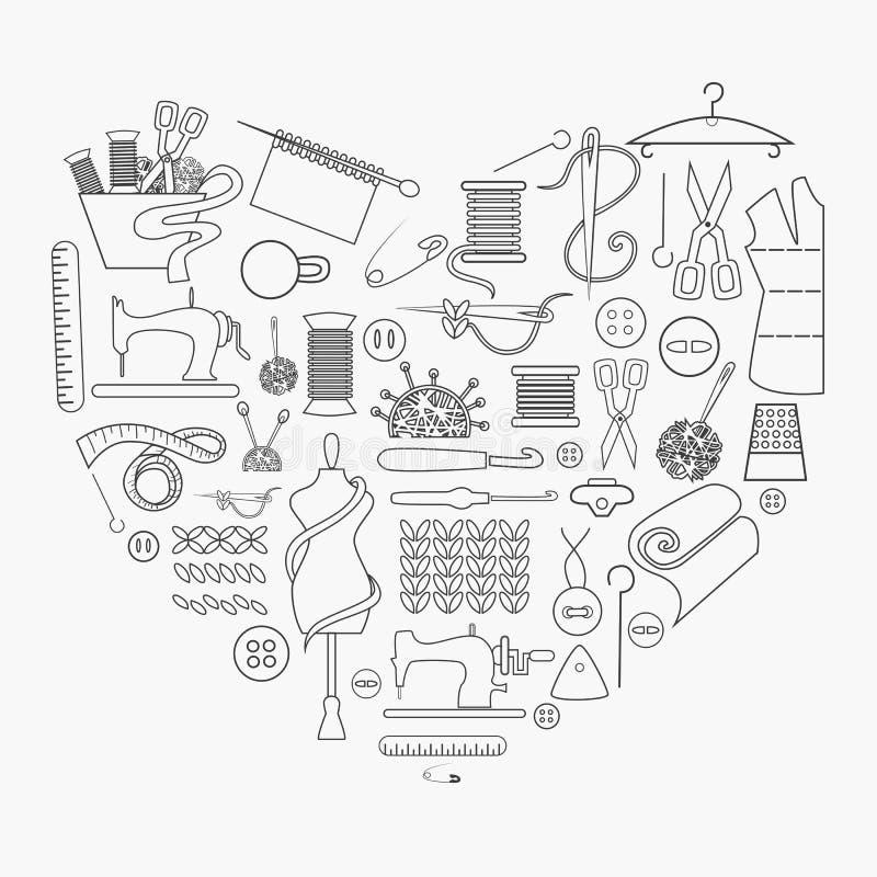 Vector шить значки оборудования и needlework в сердце иллюстрация штока