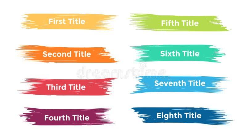 Vector щетка infographic, диаграмма, ярлыки диаграмма brushstroke, представление стикеров Концепция дела с 8 вариантами иллюстрация штока