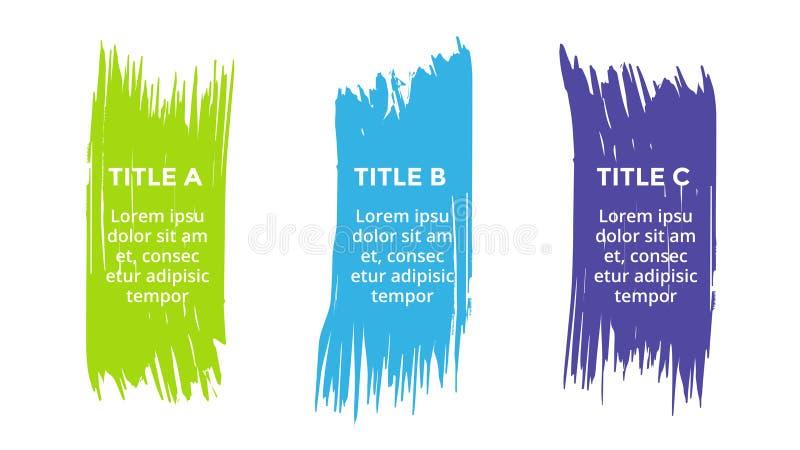 Vector щетка infographic, диаграмма, ярлыки диаграмма brushstroke, представление стикеров Концепция дела с 3 вариантами иллюстрация вектора