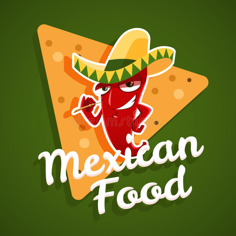 Vector эмблема мексиканской еды с перцем красного chili и nachos иллюстрация штока
