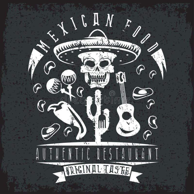 Vector эмблема grunge черепа ресторана в мексиканском sombrer иллюстрация вектора