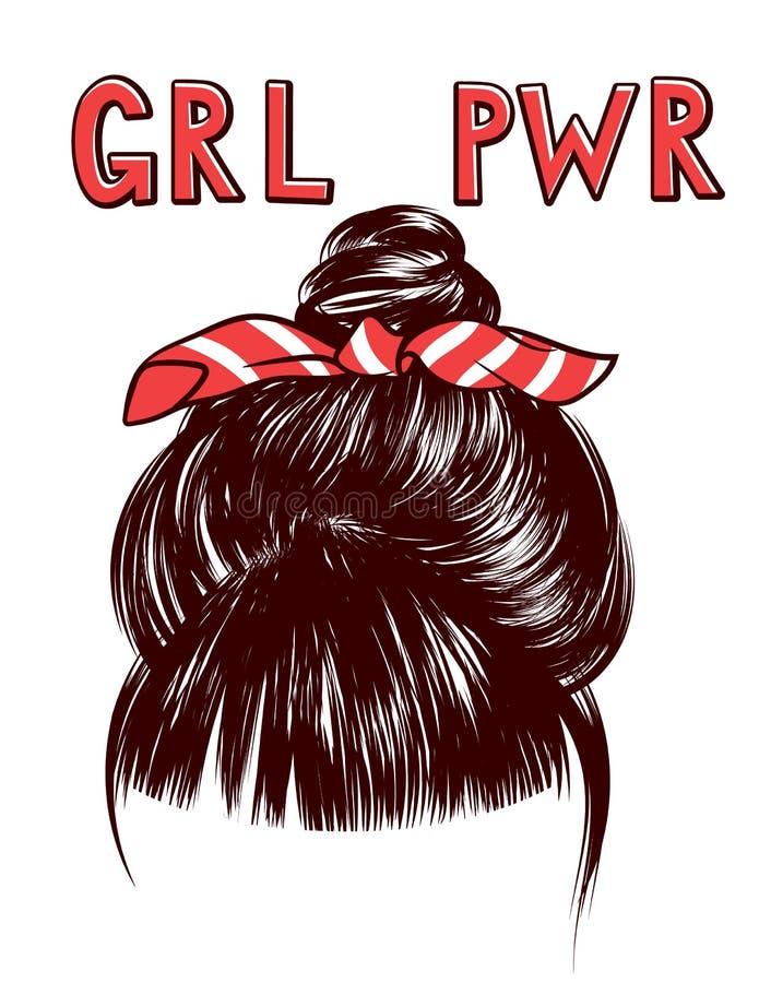 Vector эскиз пачки волос ` s женщины с grl pwr надписи бесплатная иллюстрация