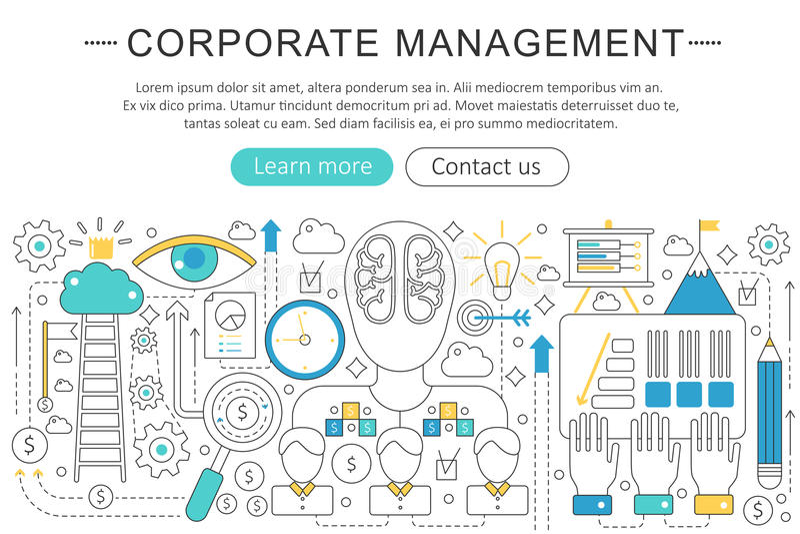 Vector элегантная тонкая линия плоская современная концепция управления корпоративного бизнеса План элементов знамени заголовка в иллюстрация вектора