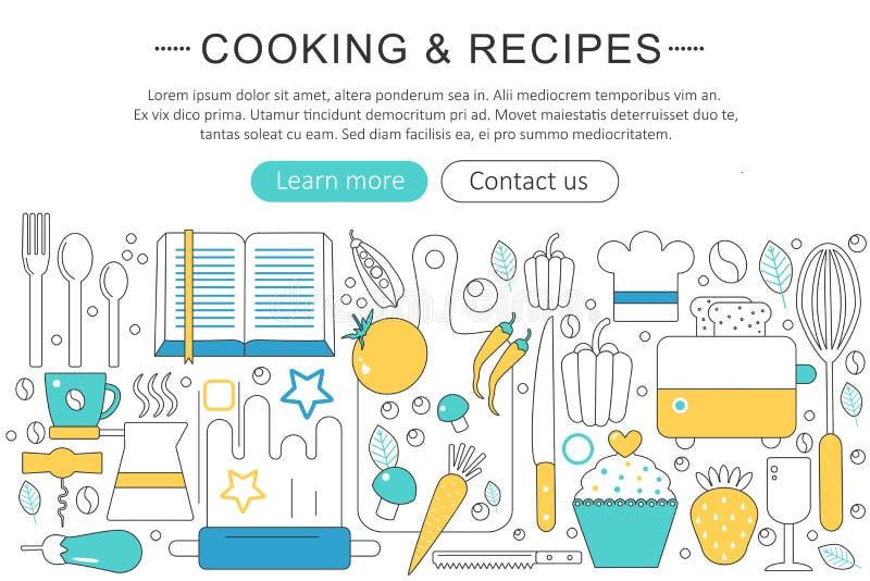 Vector элегантная тонкая линия плоско современная концепция рецептов варить и кухни План элементов знамени заголовка вебсайта бесплатная иллюстрация