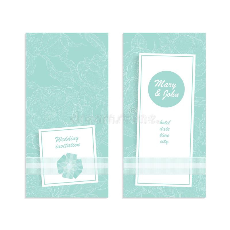 Vector элегантное приглашение свадьбы карточки, карточка даты спасения, спасибо или другое торжество Цветок пионов на нежном иллюстрация вектора