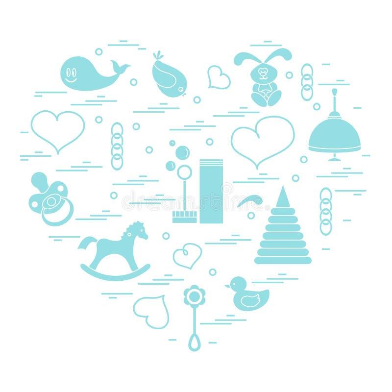 Vector элементы детей иллюстрации аранжированные в сердце: птица, wha иллюстрация вектора