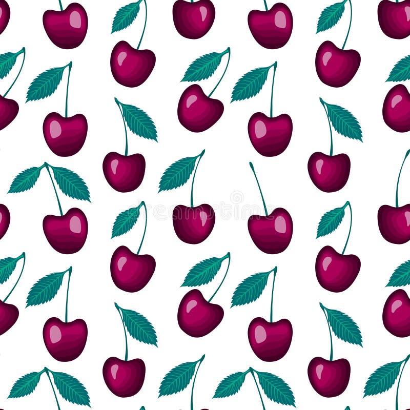 Vector ягоды вишни при картина лист безшовная изолированная на белой предпосылке иллюстрация вектора