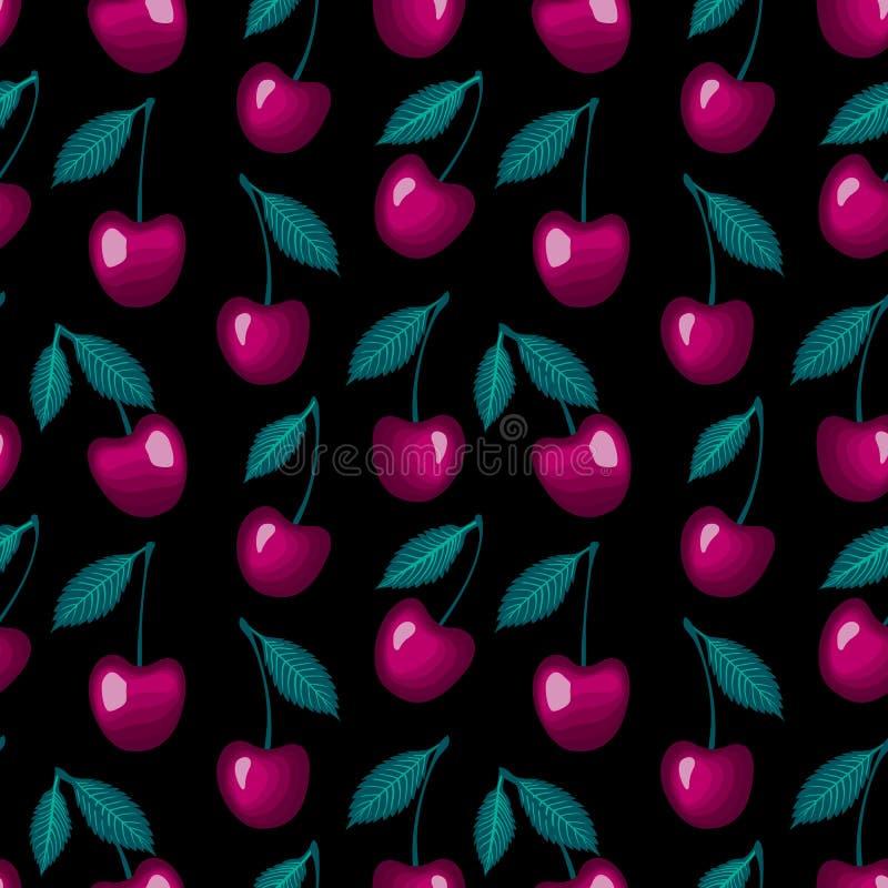 Vector ягоды сладостной вишни при лист изолированные на черной предпосылке иллюстрация вектора