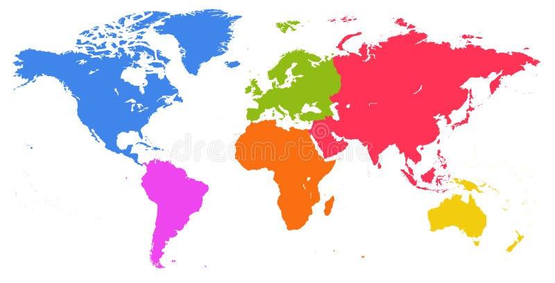 Vector яркая подобная карта мира изолированная на белой предпосылке иллюстрация вектора