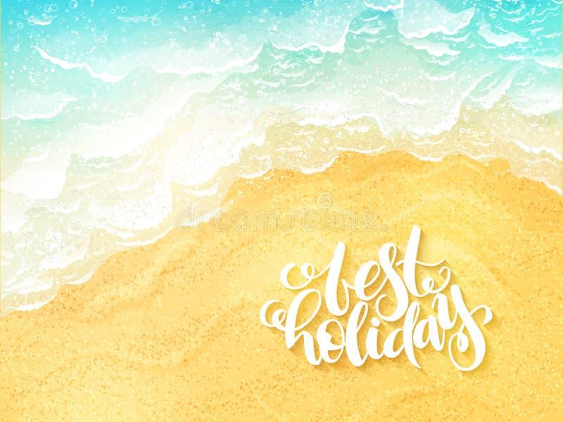 Vector ярлык лета литерности руки вдохновляющий - самый лучший праздник - на предпосылке прибоя моря взгляд сверху бесплатная иллюстрация