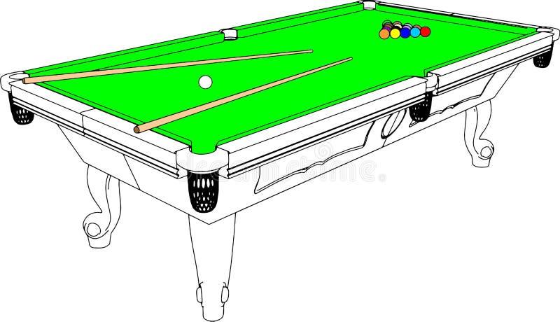 Vector 01 van het Perspectief van de Lijst van de Snooker van het biljart vector illustratie