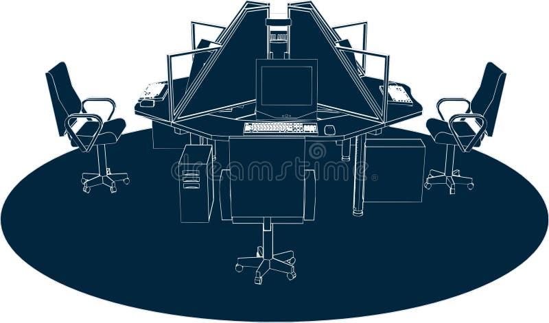 Vector 02 de la oficina del lugar de trabajo stock de ilustración