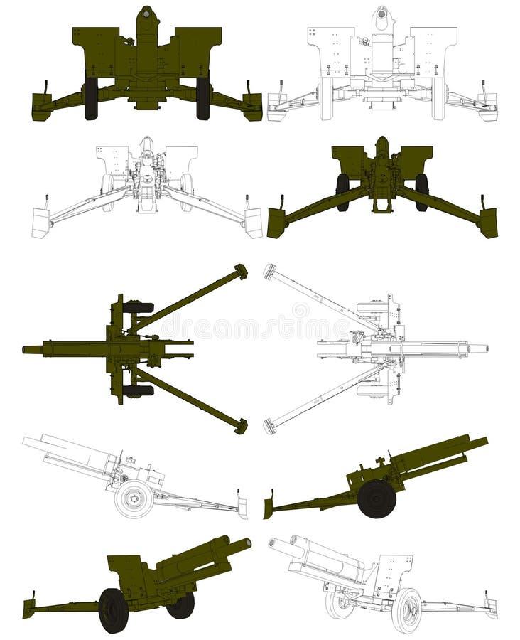Vector 02 van Arttillery van het Gebied van de Houwitser van het kanon stock illustratie