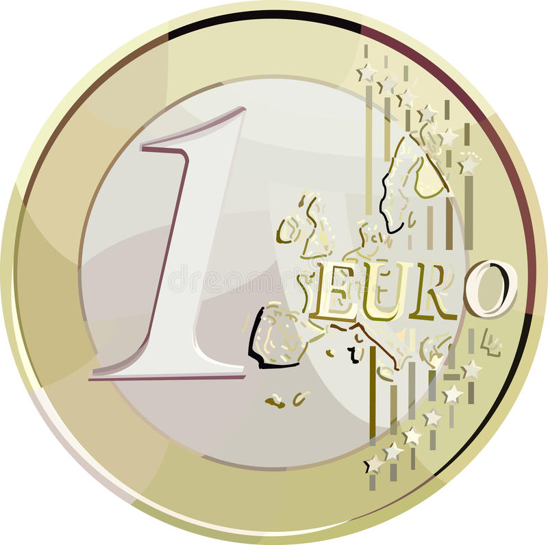 Vector 1 euro coin. Vector illustration currency 1 euro coin. Filled with solid colors only stock illustration