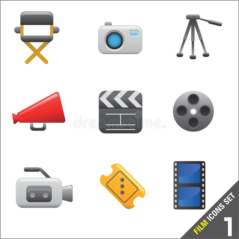 Vector 1 van de film en media van het pictogram vector illustratie