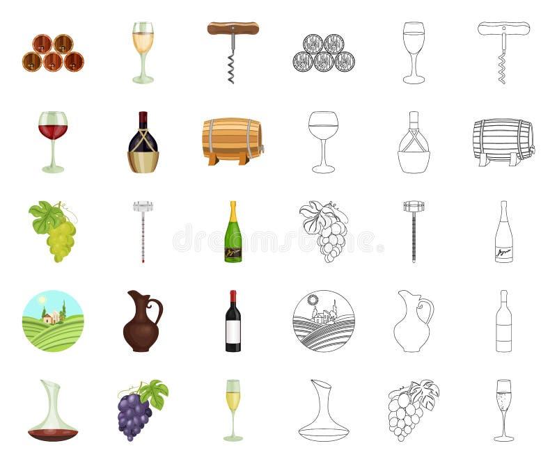 Мультфильм продуктов вина, значки плана в установленном собрании для дизайна Оборудование и продукция запаса символа вектора вина бесплатная иллюстрация