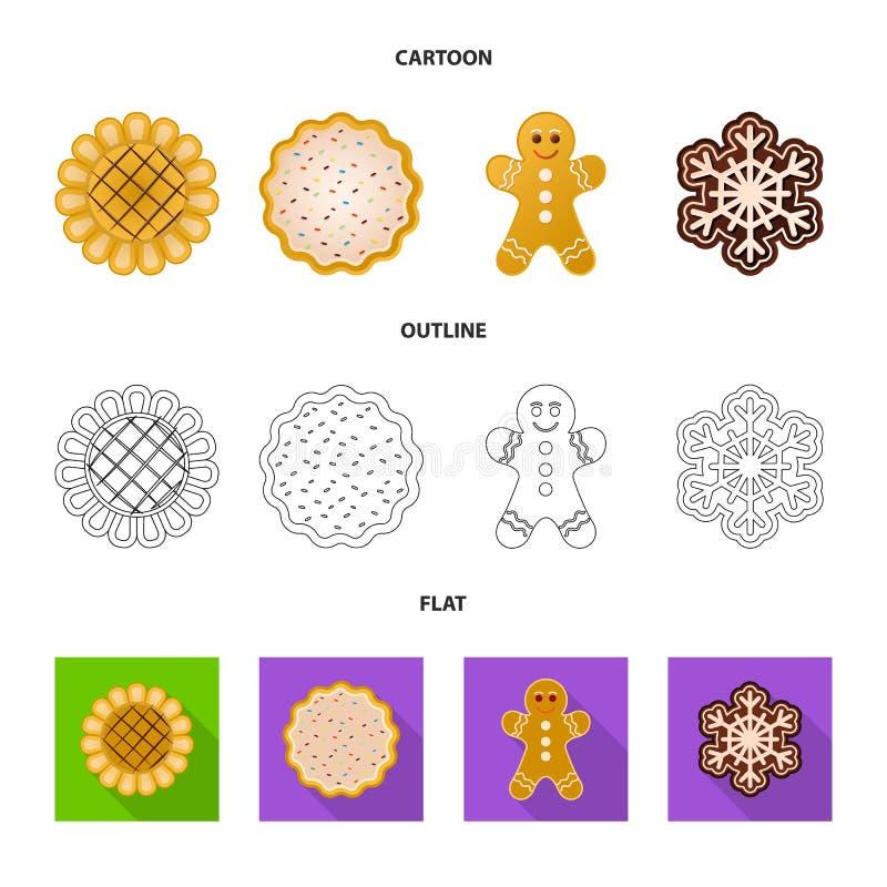 Дизайн вектора печенья и испечь значок Установите иллюстрации вектора запаса печенья и шоколада бесплатная иллюстрация