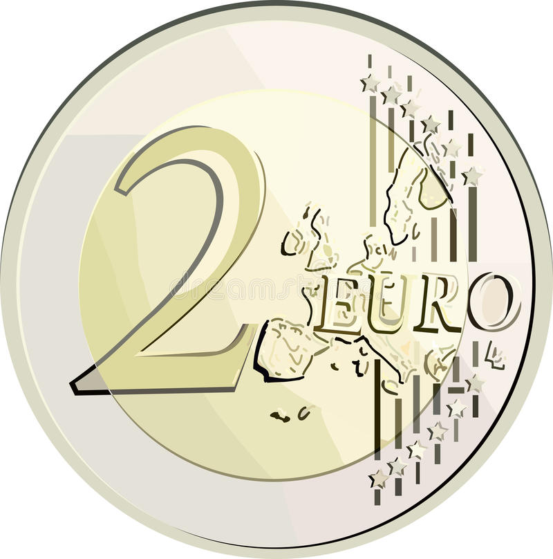 Vector 2 euro coin. Vector illustration currency 2 euro coin. Filled with solid colors only stock illustration
