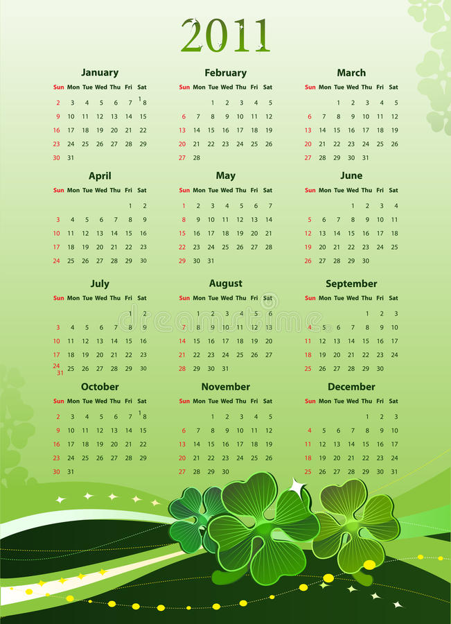 Vector 2011 calendar for St. Patricks Day