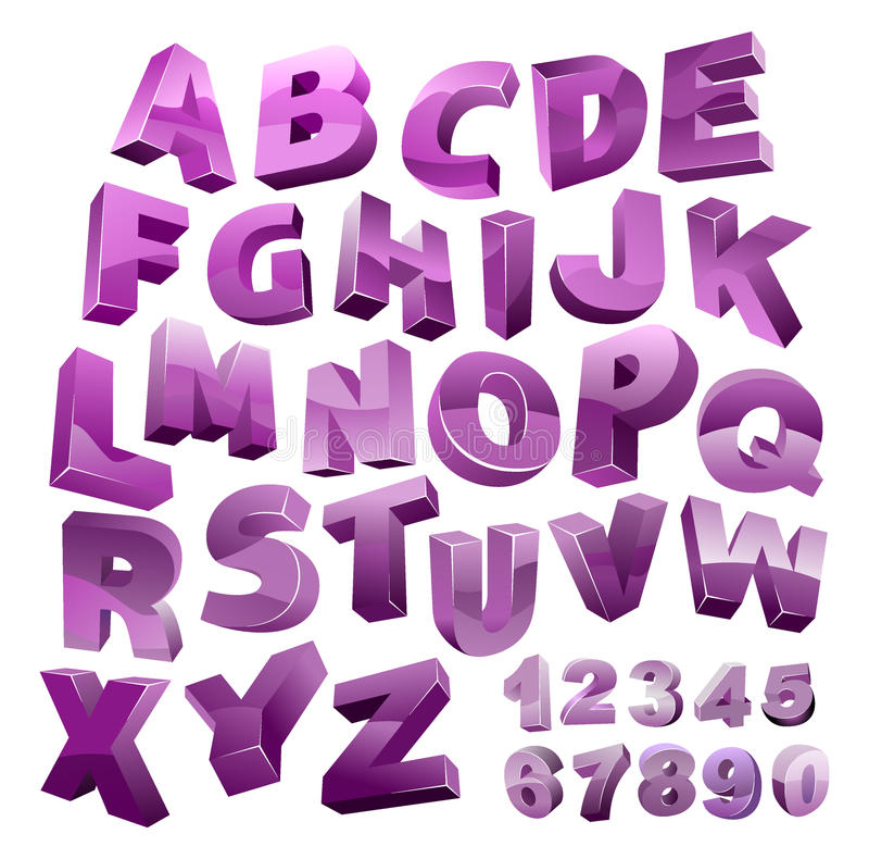 Vector 3D alfabet royalty-vrije illustratie