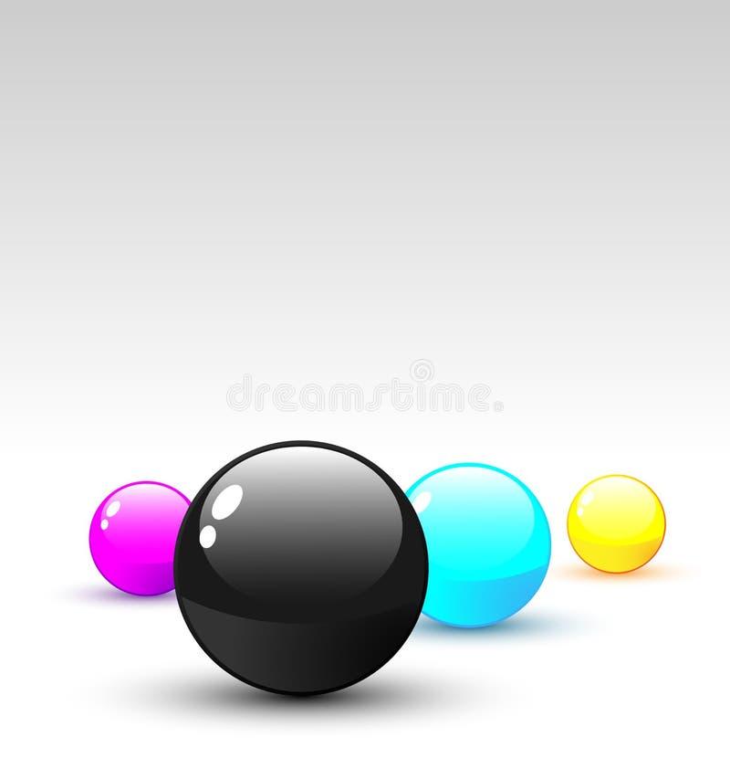Vector 3D CMYK colored balls vector illustration