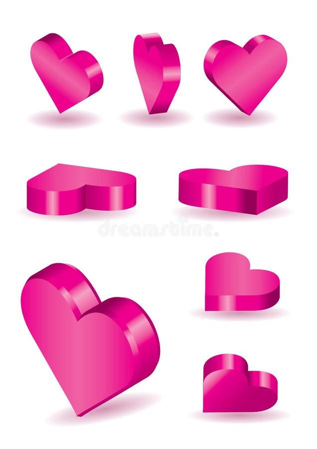 Vector 3D hartvormen stock illustratie