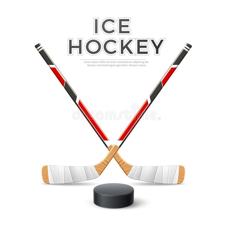 Free Vector 3d Ice Hockey Crossed Sticks With Puck Stock Image - 160941111