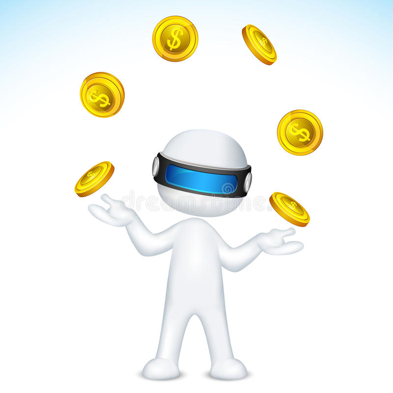 Vector 3d Man Juggling With Gold Coin Stock Images