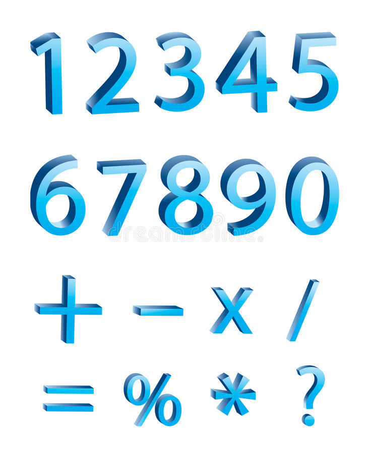 Free Vector: 3D Numeric Digits Royalty Free Stock Photo - 4950805