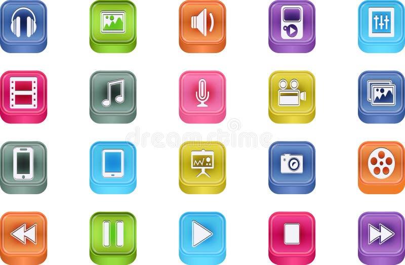 Vector 3d Quadrat Multimedia Bevel Icons Stock Photography