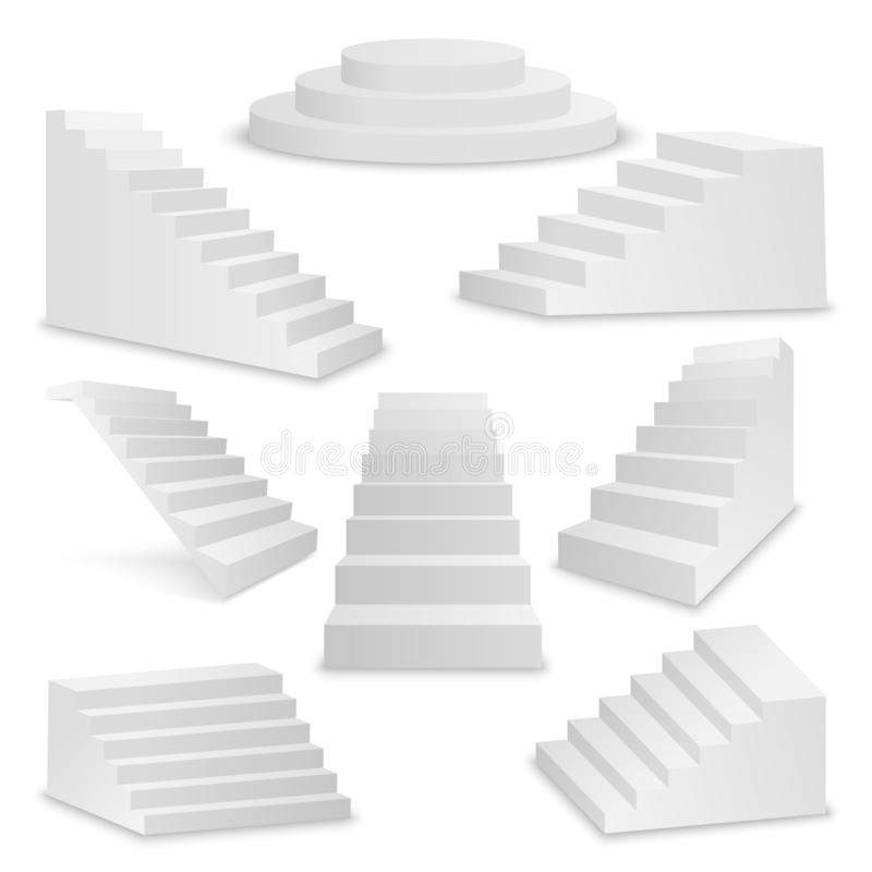 Free Vector 3d Realistic White Stairs Icon Set Closeup Isolated On White Background. Design Template Of Interior Staircases Stock Images - 144605144
