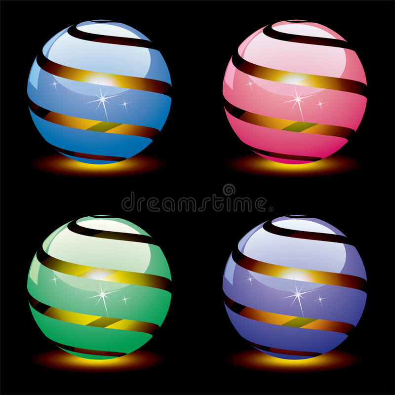 Vector 3d shiny globes with light inside. eps 10. Vector design of 3d shiny globes with burning light inside. eps 10 vector illustration