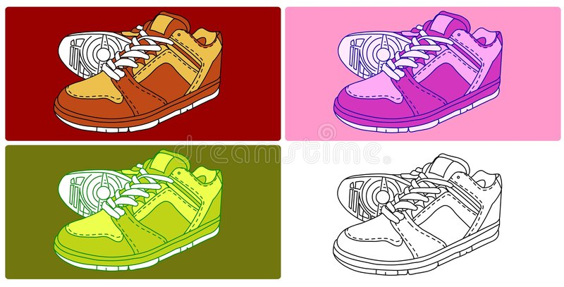 Vector - 4 Shoes vector illustration
