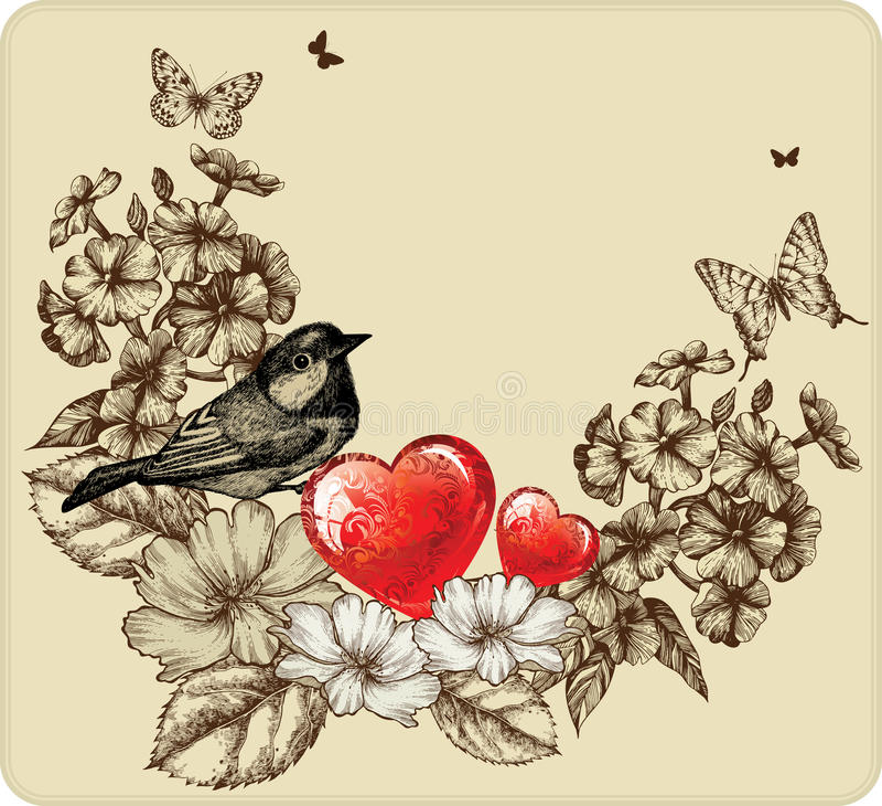 Vector Abbildung des Valentinsgruß-Tages mit einem Vogel vektor abbildung