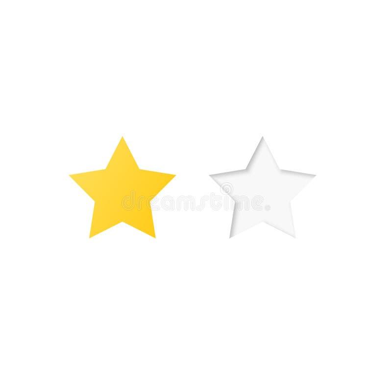 Vector Abbildung eines Bewertungssystems, das auf Sternen einer bis fünf in den verschiedenen Formaten und in den Farben basiert stock abbildung