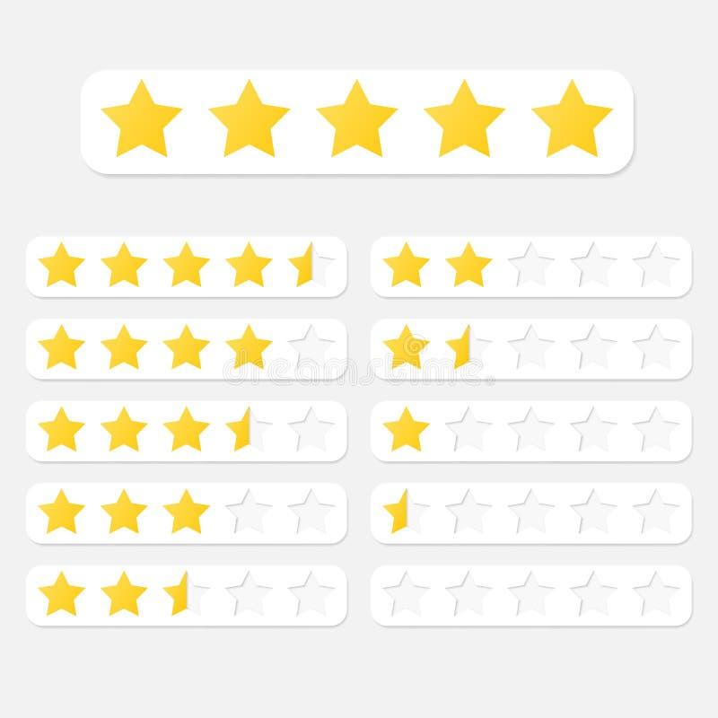 Vector Abbildung eines Bewertungssystems, das auf Sternen einer bis fünf in den verschiedenen Formaten und in den Farben basiert lizenzfreie abbildung