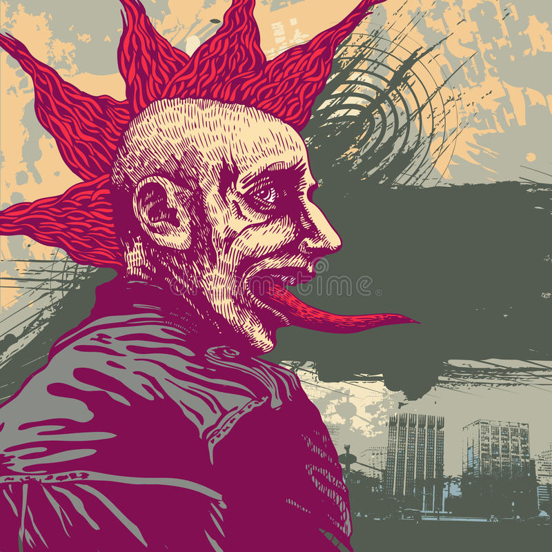Vector Abbildung mit jungem Punk im grunge styl vektor abbildung