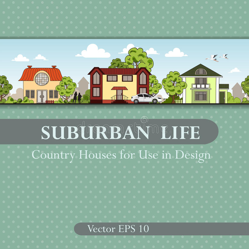 Vector Abdeckung mit Landhäusern für Gebrauch im Design lizenzfreie abbildung