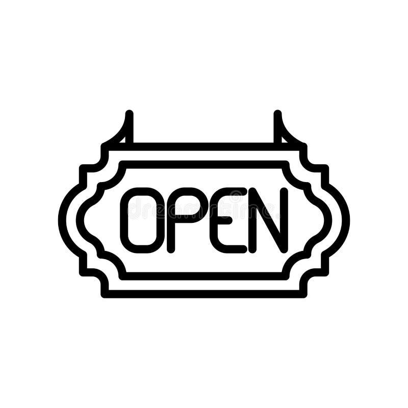 Vector abierto del icono aislado en el fondo blanco, los elementos abiertos de la muestra, de la línea y del esquema en estilo li stock de ilustración