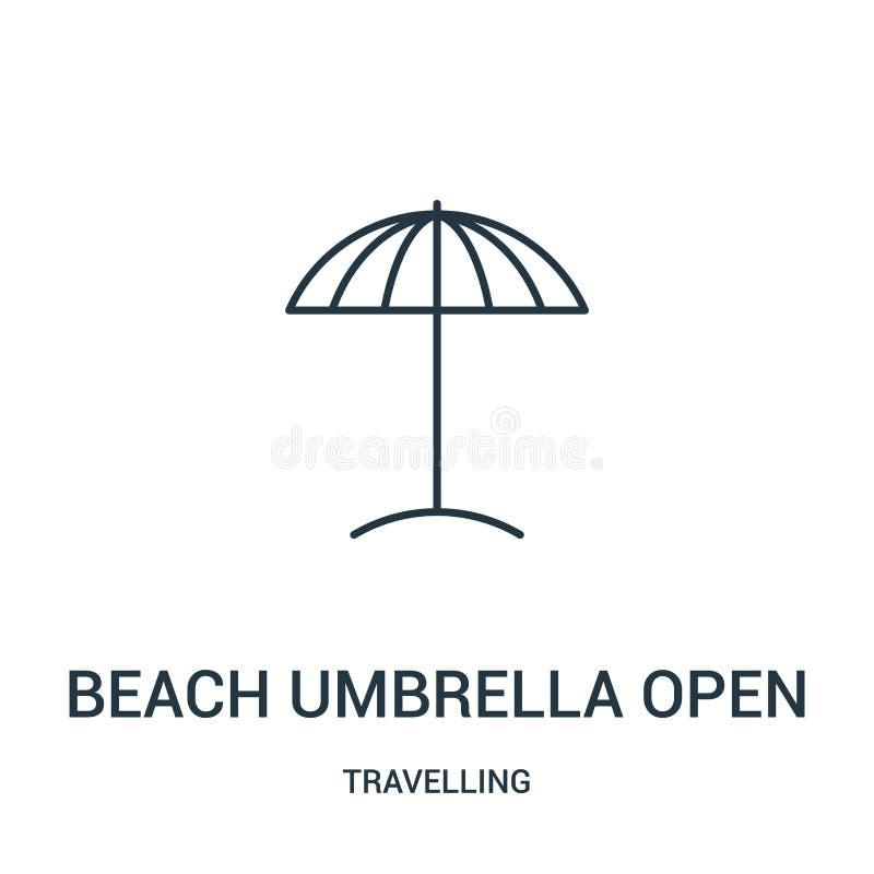 vector abierto del icono del parasol de playa de la colección que viaja Línea fina ejemplo abierto del vector del icono del esque libre illustration