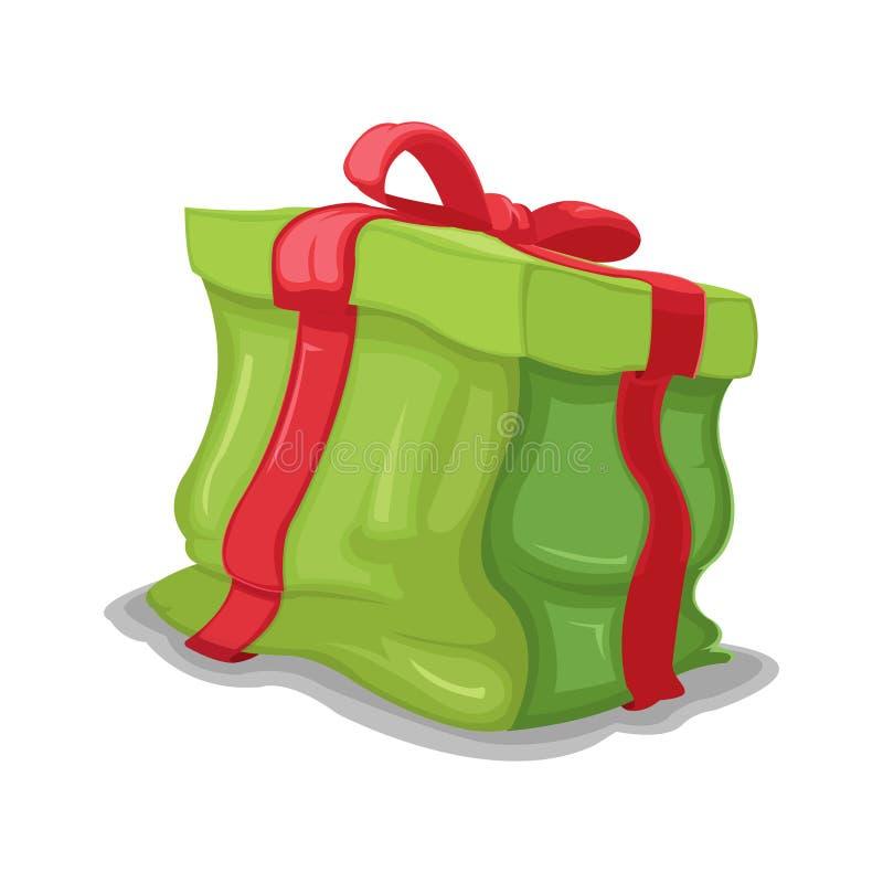 Vector abollado caja verde del agolpamiento del regalo stock de ilustración