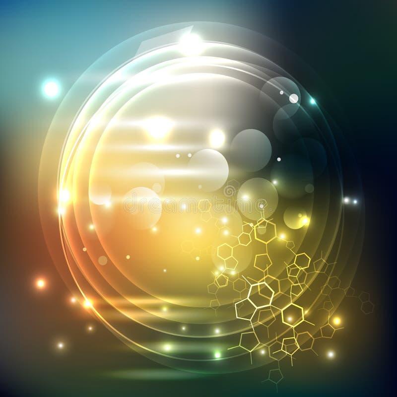 Vector Abstract achtergrondzeshoekenontwerp wetenschaps futuristische energietechnologie stock illustratie
