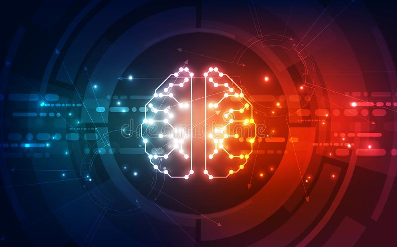 Vector Abstract artificial intelligence brain futuristic circuit board, Illustration high digital technology background. Innovation vector illustration