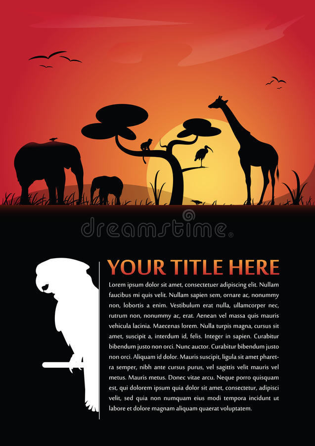 Vector abstract background with african animals vector illustration