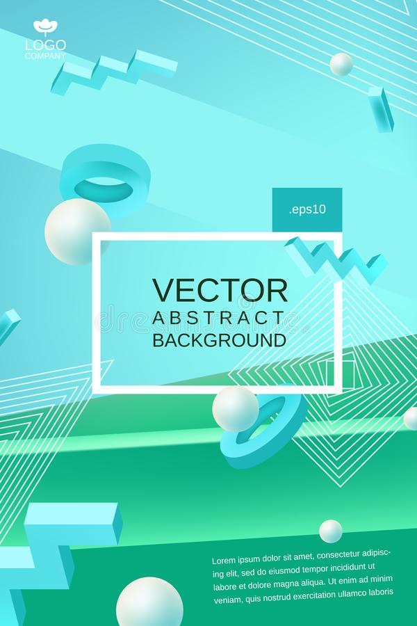 Vector abstract background in blue and green colors. Vector abstract background template for banner or poster design in blue green colors with 3d elements and vector illustration