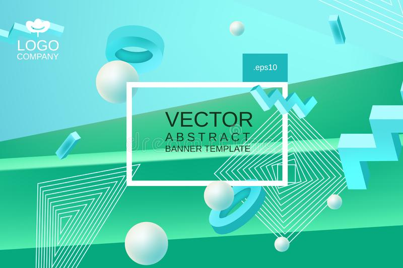 Vector abstract background in blue and green colors. Vector abstract background template for banner or poster design in blue green colors with 3d elements and royalty free illustration