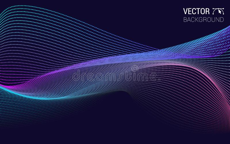 Vector abstract background colored dynamic waves. Illustration suitable for design. line and particles stock illustration