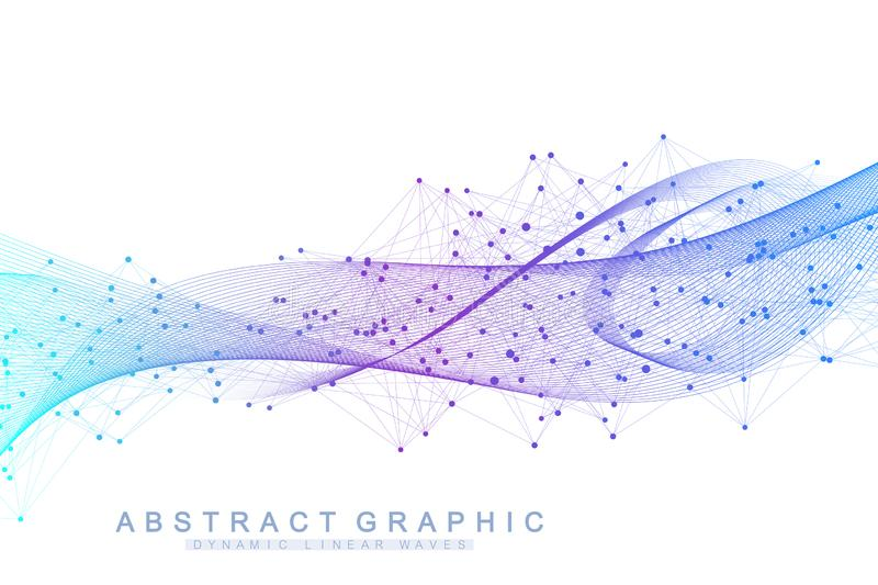 Vector abstract background with a colored dynamic waves, line and particles. Wave flow. Digital frequency track. Equalizer vector illustration