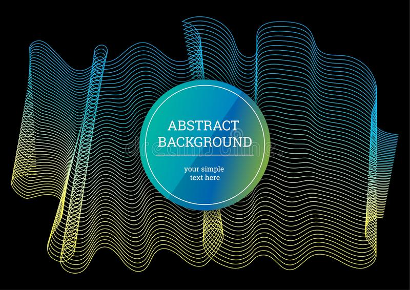 Vector abstract background with a colored dynamic waves and lines. Yellow and blue lines on black background. Abstract background stock illustration